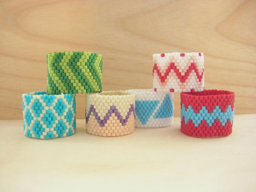 Beaded Rings + Basic Peyote Stitch