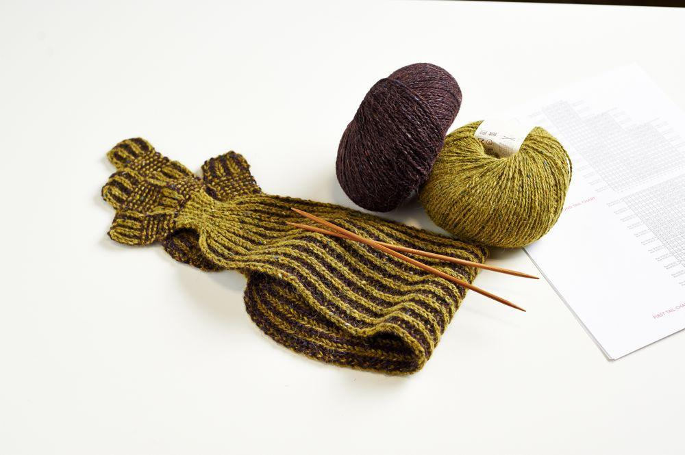 Keyhole Brioche Scarf knitting project