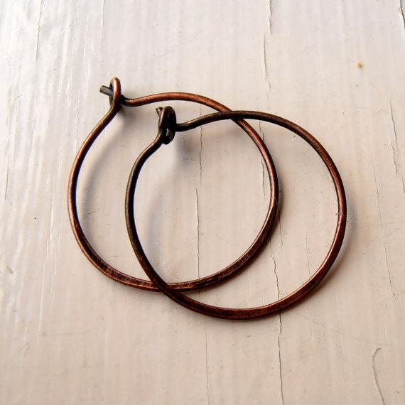 Simple hoop earrings in oxidised copper