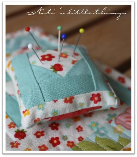 in love paper pieced pincushion
