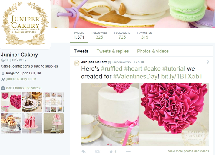 Twitter for your cake design business or bakery