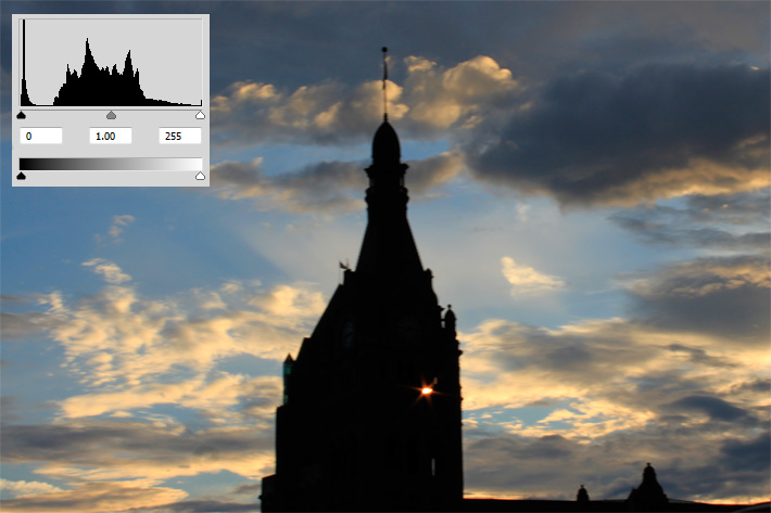 Histogram with silhouette of a building at sunset