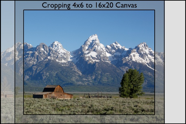 Photograph of Mormon Row in the Grant Tetons showing loss for printing as a 16x20 wrapped canvas