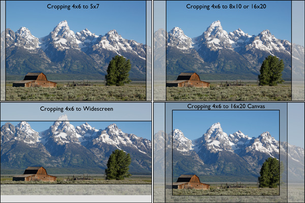 cropping aspect ratios on a photo of Tetons, Mormon Row