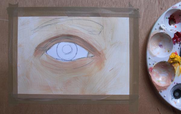 Painting skin around eye