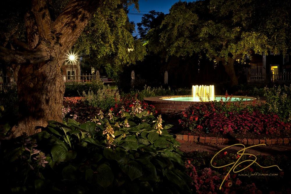 Evening In The Garden, Prescott Park Gardens At Night.