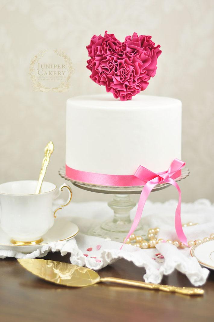 Pink ruffled fondant heart cake