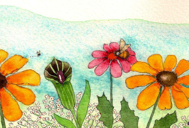 watercolor flower garden