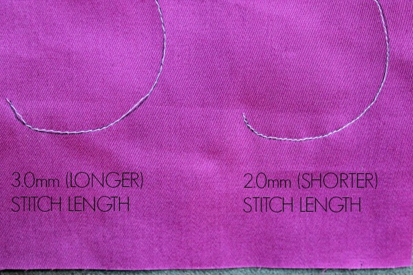 stitch length on curves