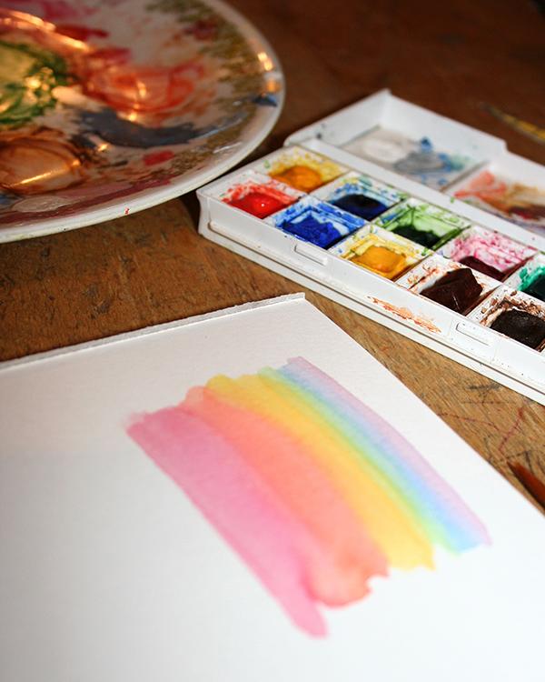 Combine acrylic and watercolor