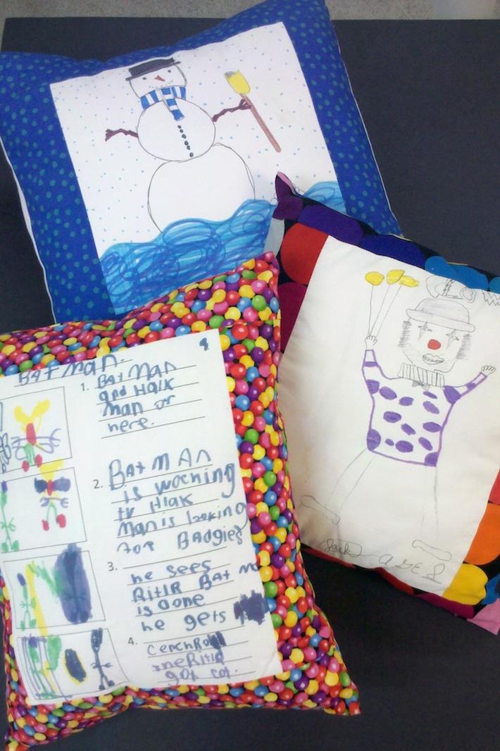 Kids Artwork Pillows by Nancy Smith