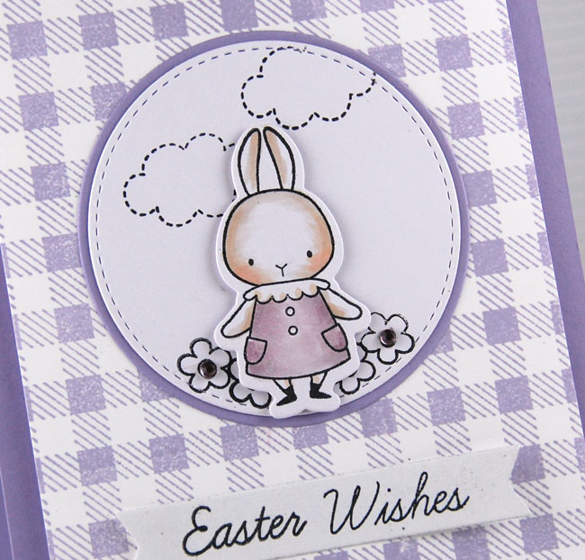 Close-up of finished Easter Wishes card