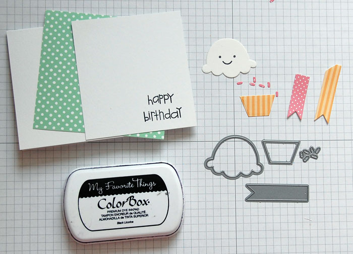 Cupcake Step 1 Die-cut pieces; stamp sentiment
