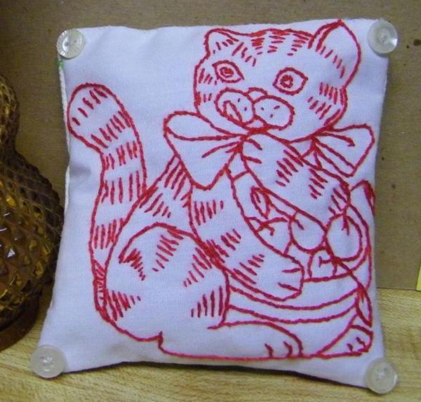 Cat Cherries Embroidery Design