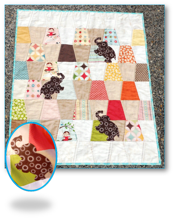 Charming Pachyderms Baby Quilt