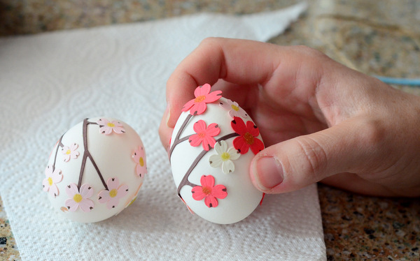 Easter Eggs Decorated with Stickers