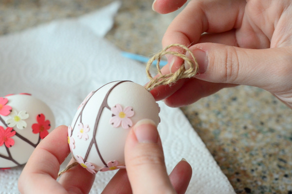 Stringing Twine for Easter Egg Ornaments