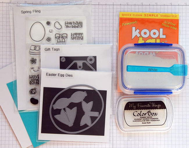 Supplies for egg shaped card