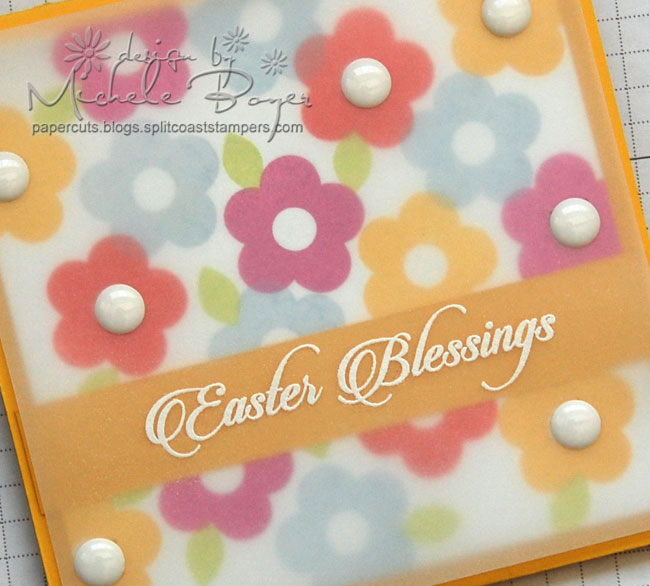 Close-up of finished Easter Blessings card