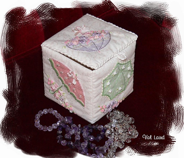 For a Rainy Day hand embroidered trinket box by Val Laird Designs.