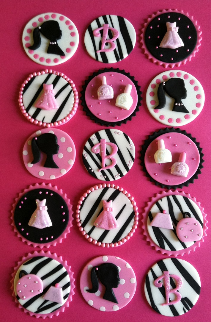 Glam Barbie fondant cupcake toppers