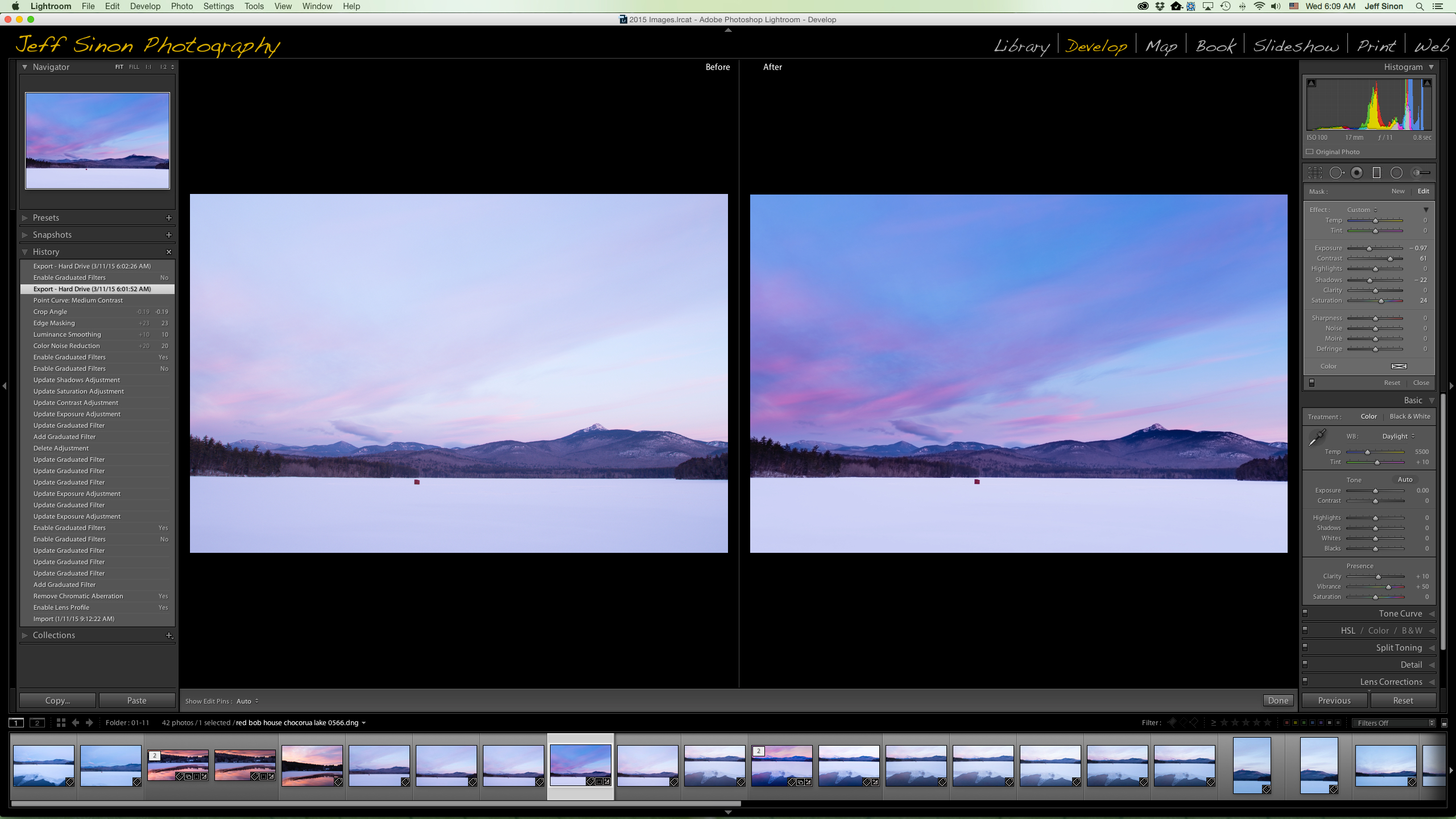 landscape photo before and after using Gradient