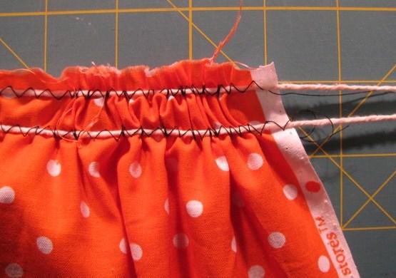 using yarn to gather fabric
