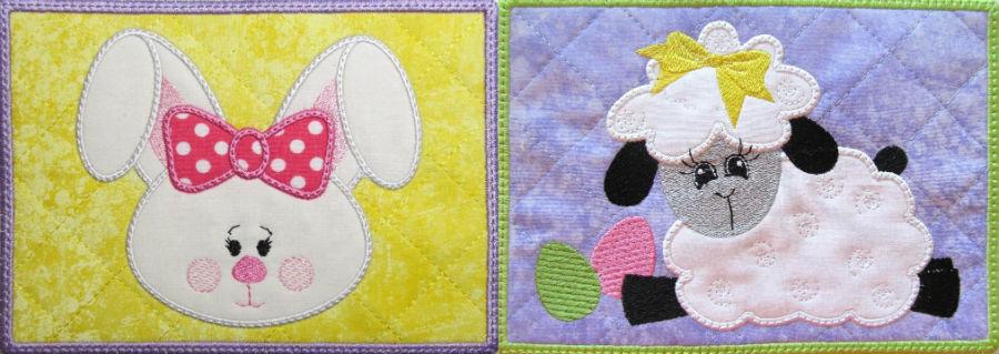 ITH bunny and sheep mug rugs
