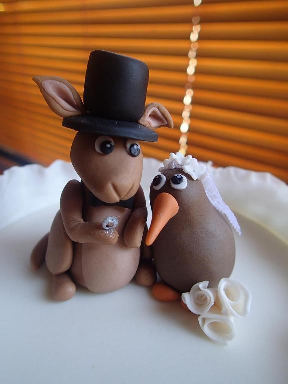 Kanga and Kiwi Wedding Cake toppers