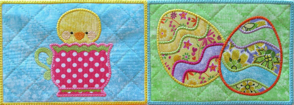 Machine Embroidery ITH Easter Mug Rugs