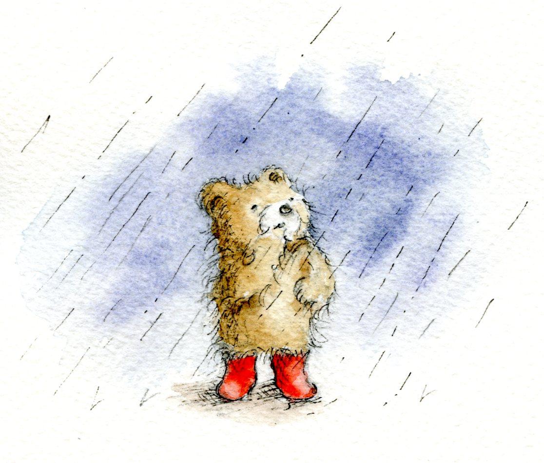 Teddy bear in rainstorm