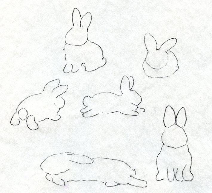 Rabbit shape drawings