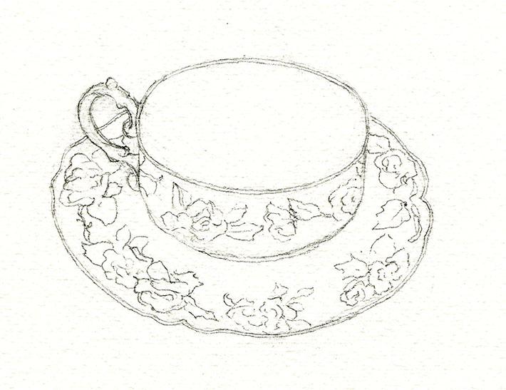 Floral teacup sketch