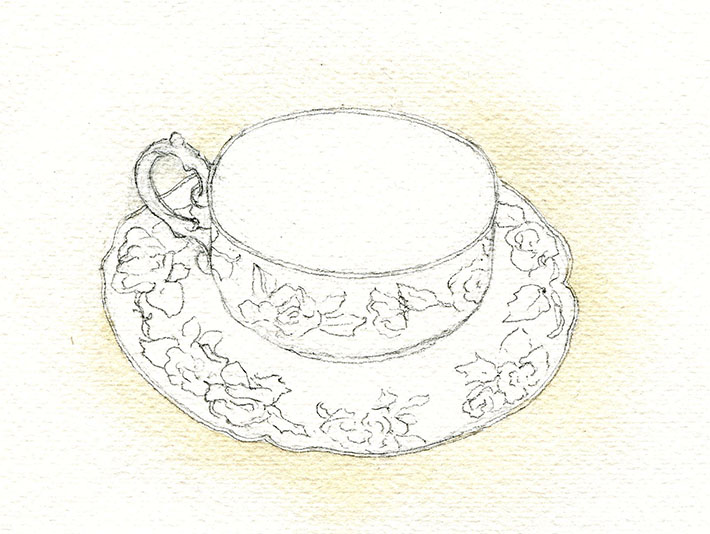 Watercolor teacup background