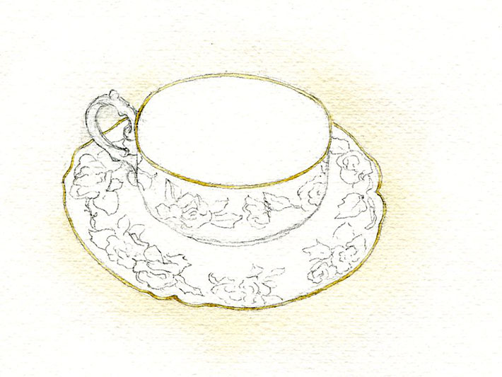 Gold rim on watercolor teacup