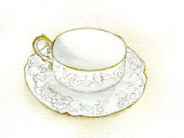 Watercolor shading on teacup