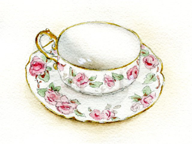 Finished watercolor teacup painting
