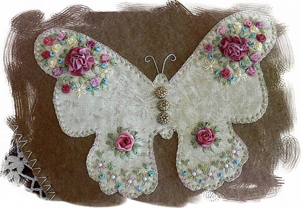 On the Wing silk ribbon embroidery