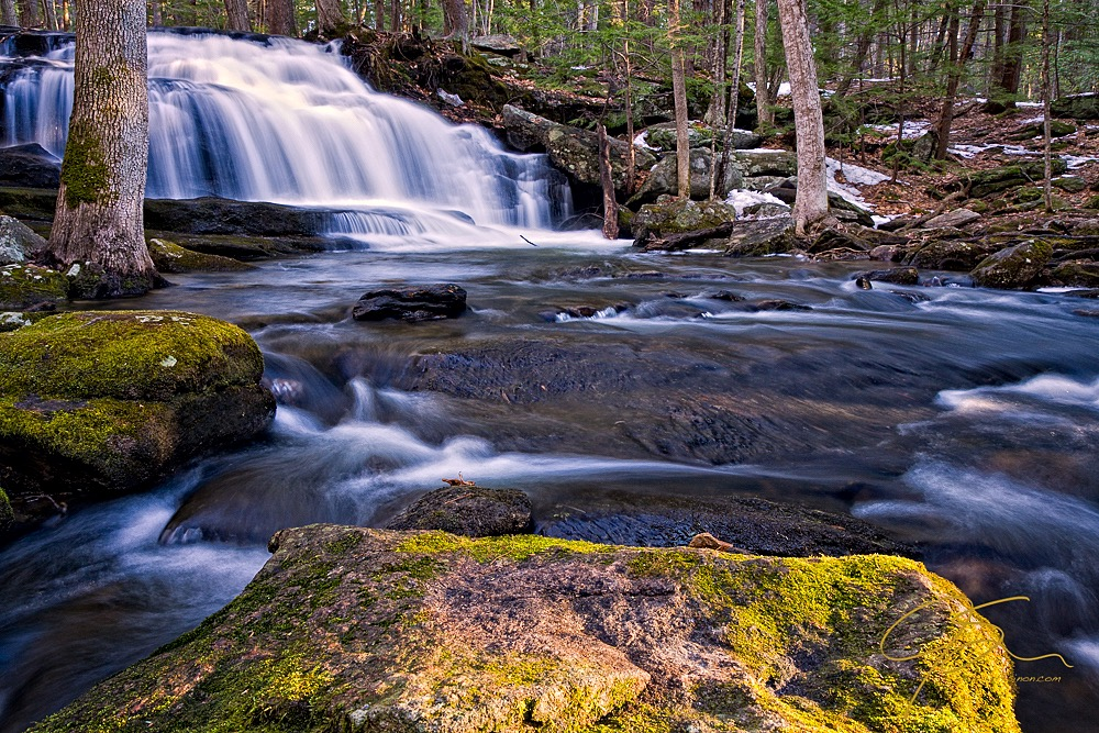 Tucker Brook Falls in the early morning light.