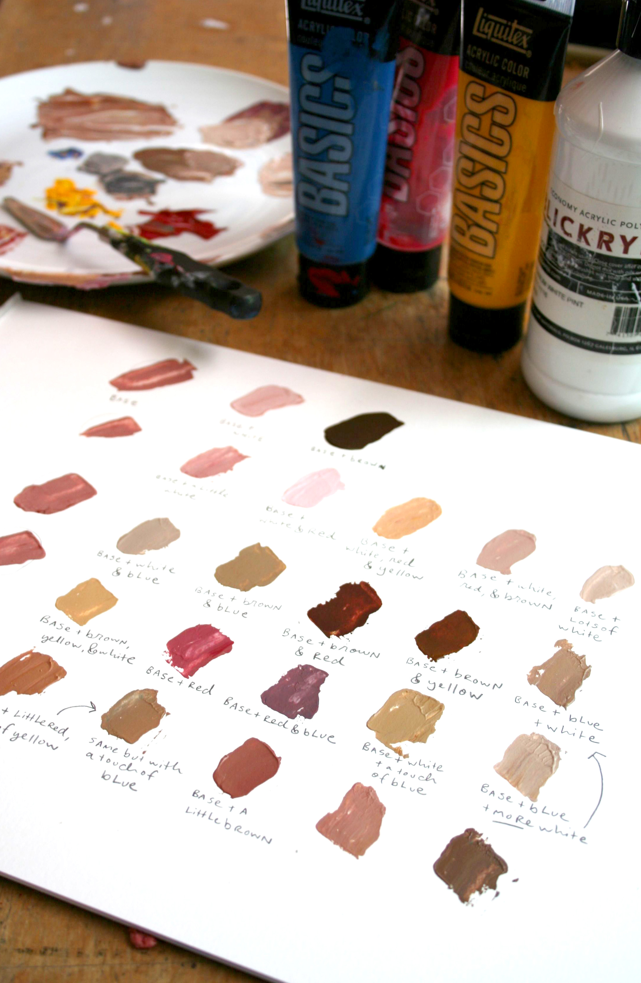 Acrylic skin tones