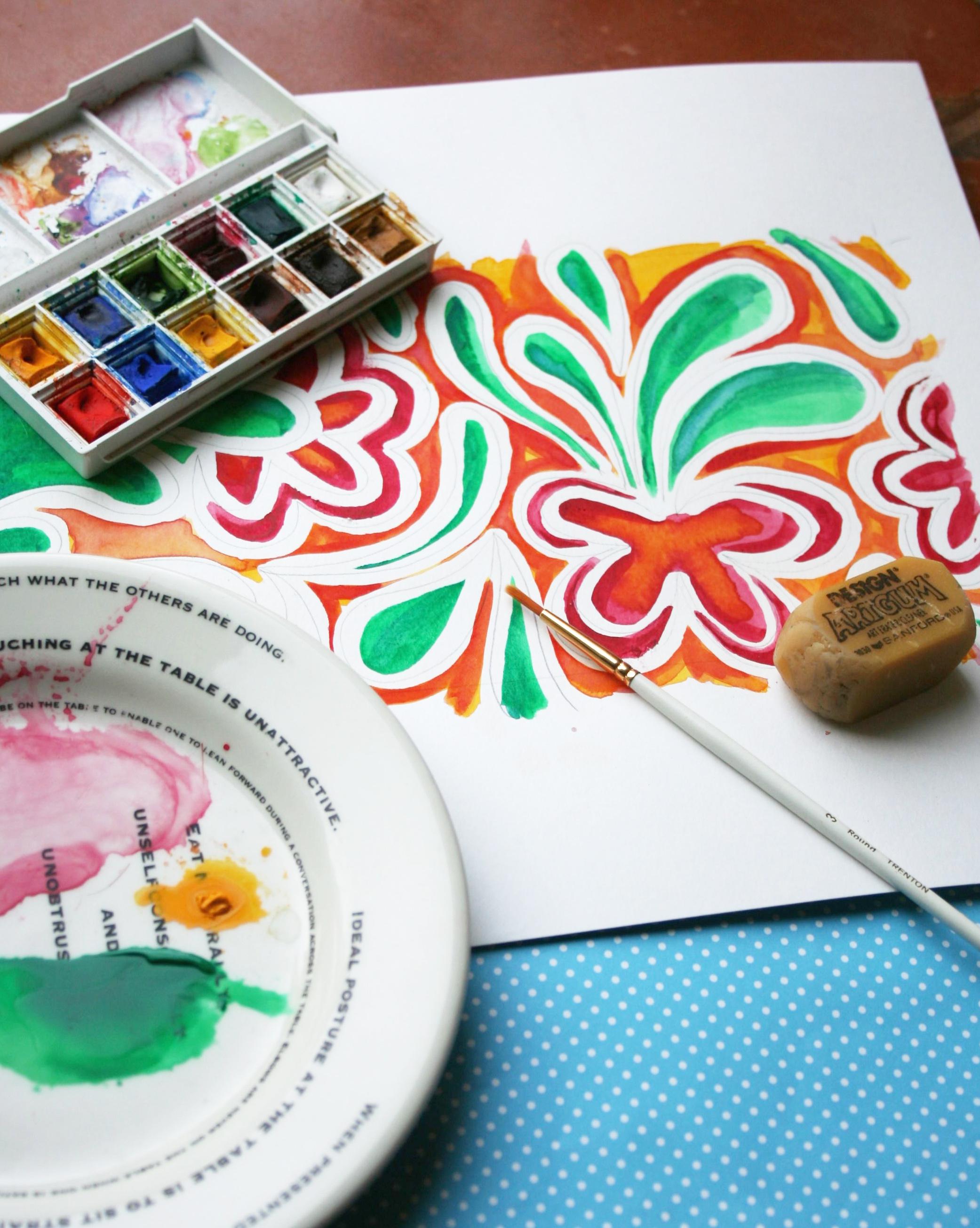 Batik with watercolor