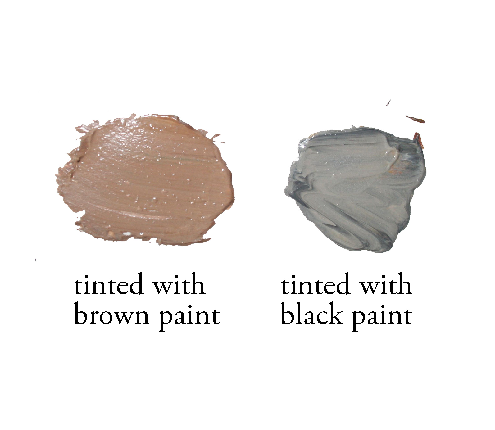 Black versus brown paint to tint