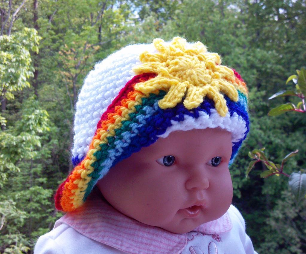 crochet rainbow hat