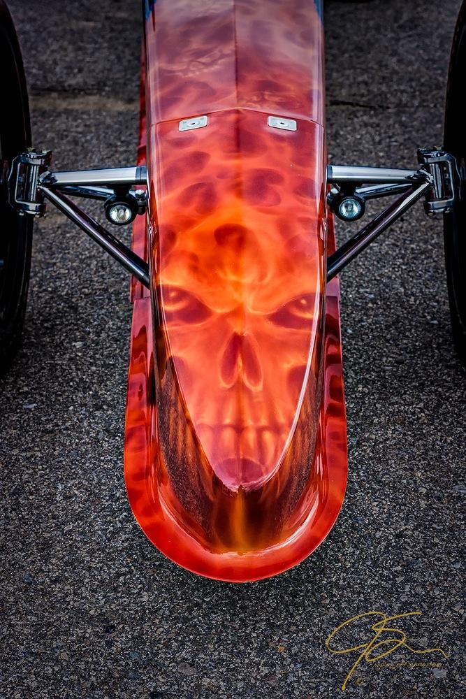 Flaming Skull Nose Art