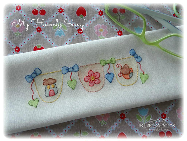 elefantz pencil colored homely swag embroidery