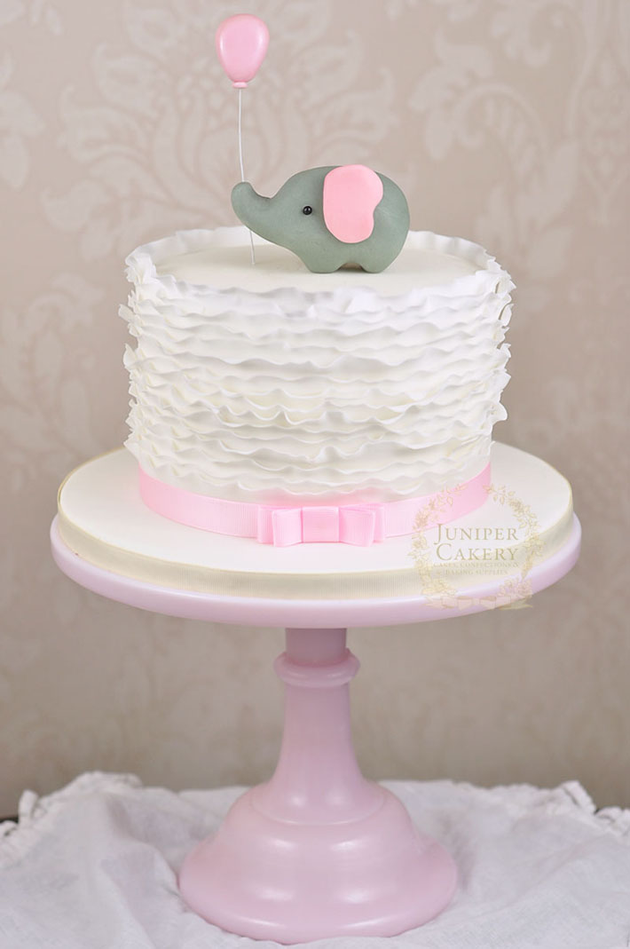 Elephant ruffle cake by Juniper Cakery