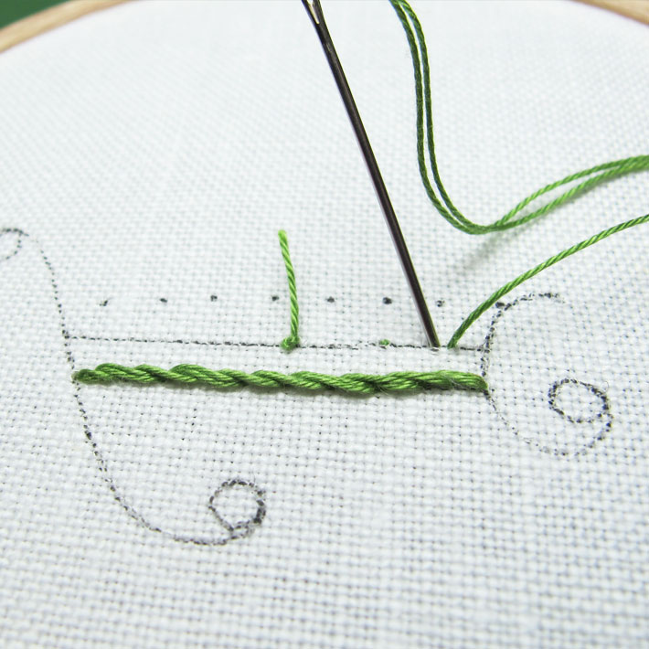 the backstitches should pass over just one or two fabric threads