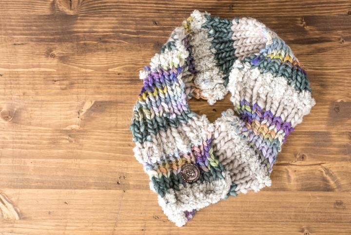 Magic Ball Cowl knitting project