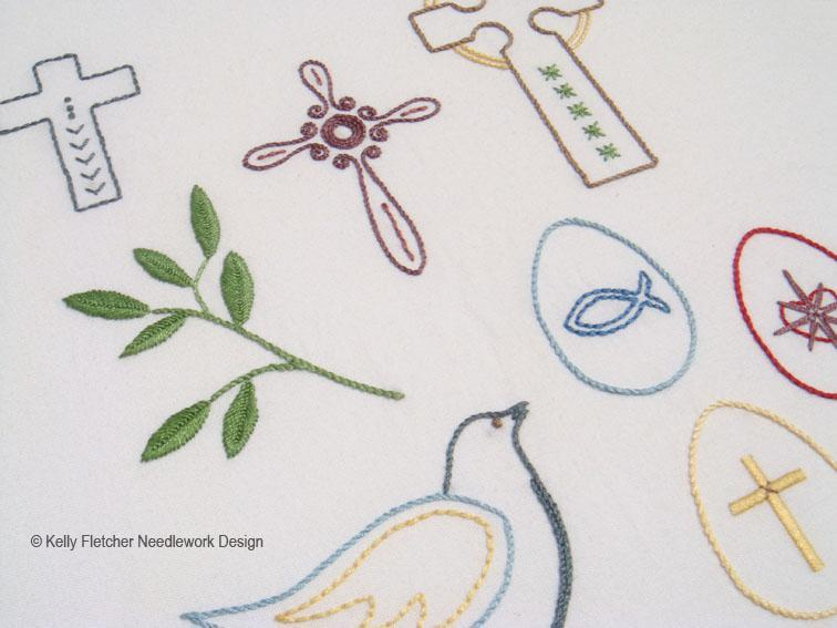 traditional easter icons such as a dove and crosses in hand embroidery