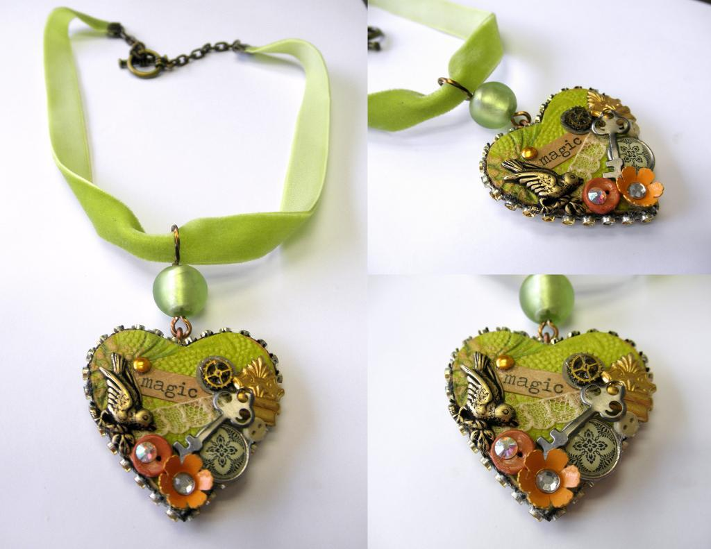 Green Mixed Media Heart Necklace